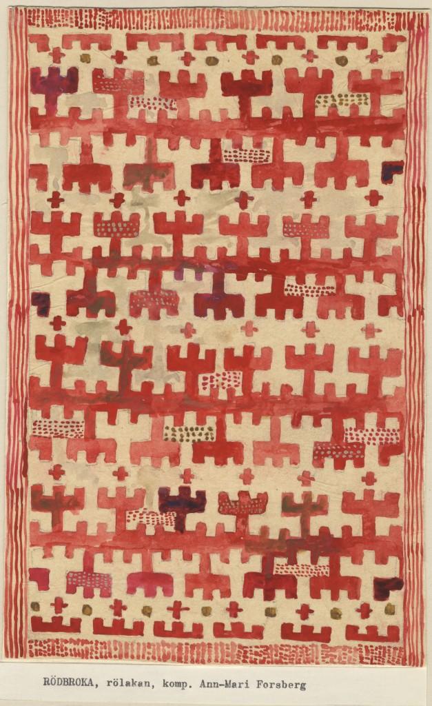 Rödbroka, skiss rölakansmatta, 1944