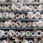 Textile in rolls on a shelf