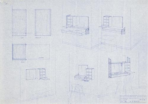 Ritning Stringbokhylla, 1950-tal