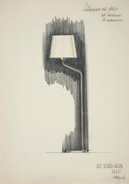 Skiss golvlampa, Böhlmarks/ Pukebergs Glasbruk, 1962