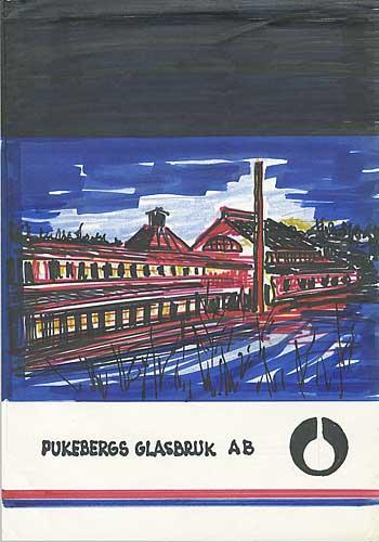 Skiss broschyr Pukebergs Glasbruk AB