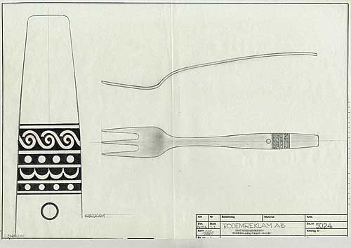 Skiss gaffel, Rodemreklam AB, 1976