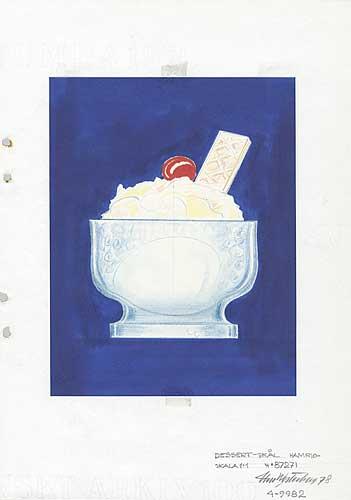 Skiss glasskål, Rondola, Pukebergs Glasbruk, 1978