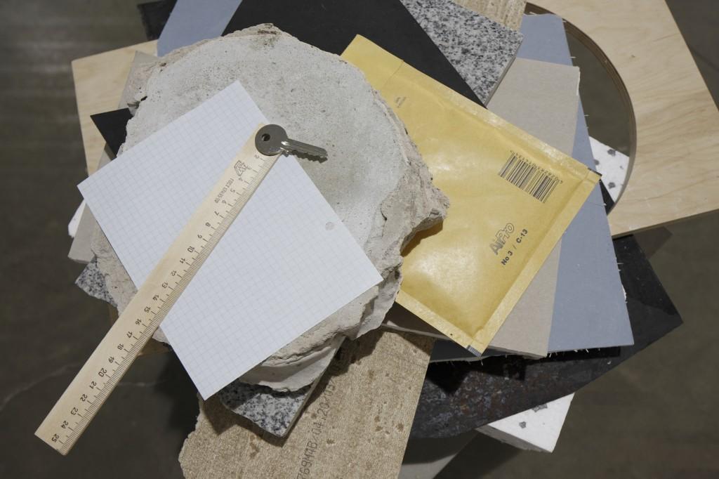 Daria Melnikova, Ø=5mm, 2011, Paper, wood, concrete, metal, poleurethane, pasterboard, ruller, key, envelope, 100x60x70 cm, Photo: Ansis Stark