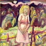 Nordberg Olle, Flickan Och Månen, 1943, Olja på pannå, 24x21cm
