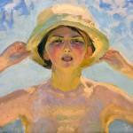 Gerda Roosval-Kallstenius, Solstudie på stranden, 1914, olja på duk. Foto: Per Larsson