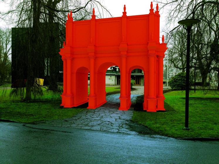 Röd triumfbåge, fotomontage
