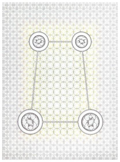 Eva Larsson, Den gröna trädgården, Teckning, 2005, 90x120cm