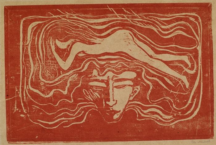 Edvard Munch. I mannens hjärna, 1897, träsnitt 37,2x56,7 cm, Thielska Galleriet, fotograf Tord Lund