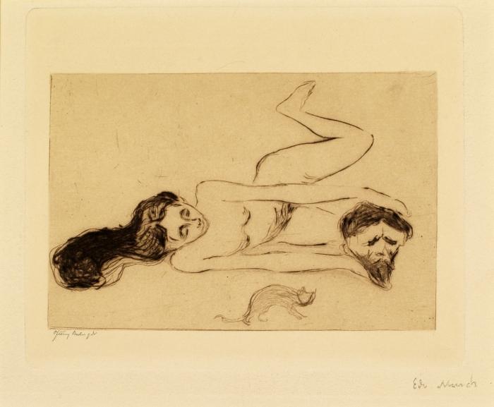 Edvard Munch. Katten, 1895-96, etsning, 9,1x14,0 cm, Thielska Galleriet, fotograf Tord Lund