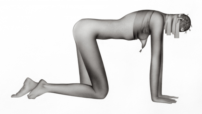 G. Karin Andersson. Utan titel (Figur 1), blyertsteckning, 33,9x25 cm, digitalprint 127x197 cm