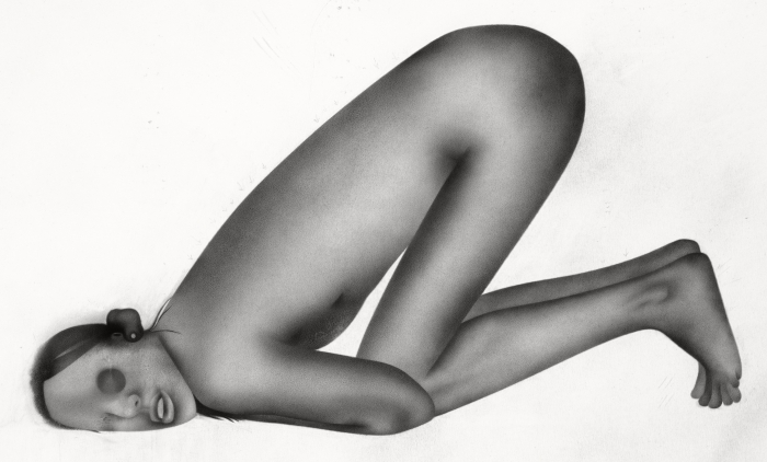 G. Karin Andersson. Utan titel (Figur 2), blyertsteckning, 37,8x28,9 cm, digitalprint 127x130 cm