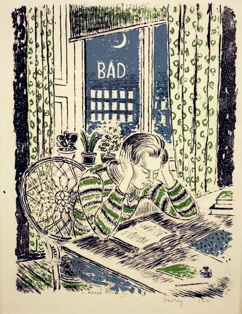Arthur Percy, Hans läser, 1931, färglitografi. Foto: Per Larsson