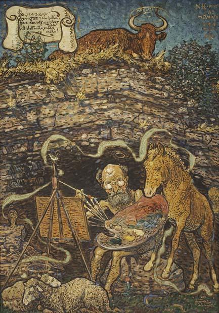 Nils Kreuger, Eremiten i sin håla, olja på pannå, 1914, 100x70 cm. Foto: Emelie Carlén