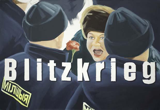 Naprushkina Marina, Blitzkrieg, olja på duk, 2005, 160x110 cm. Foto: Emelie Carlén