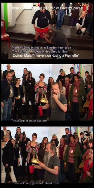 Dorinel Marc, Intervention using a Pipinette, 2007, DVD, 4 min 35 sek. Video- och tv-dokumentation av intervention i samband med Itziar Okarizs performance på NorrlandsOperan i Umeå 2007. Foto: Staffan Lindqvist
