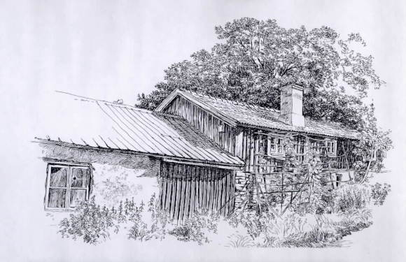 Stuga i Vickleby, teckning av Björn Gidstam