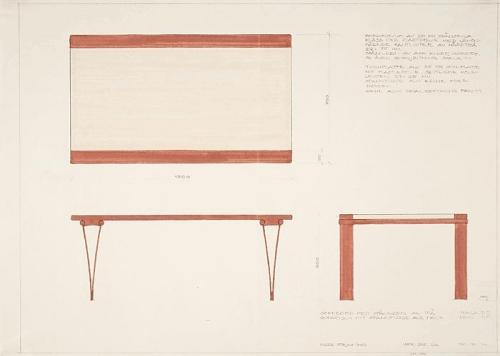 Ritning Soffbord med spännben, 1970