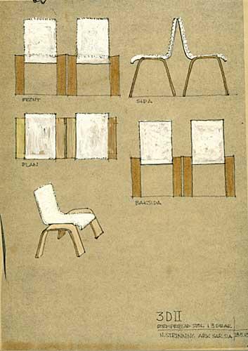 Skiss 3D II stol, 1969