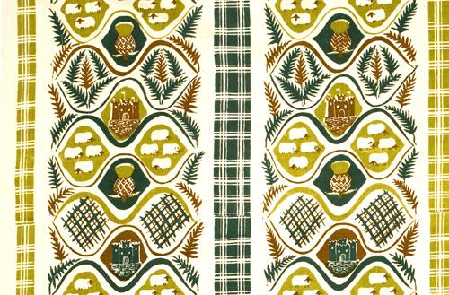 Resa till Skottland, detalj av textilmönster