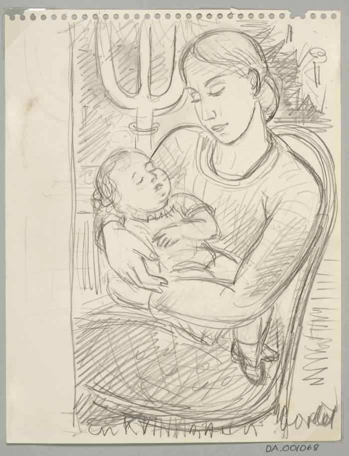 DA-001068-Kvinna med barn, från skissblock