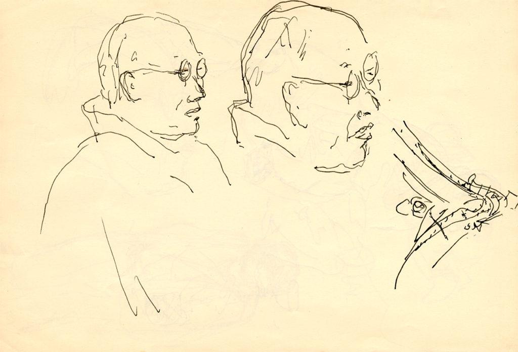 Teckning av Shoji Hamada i profil, Wilhelm Kåge