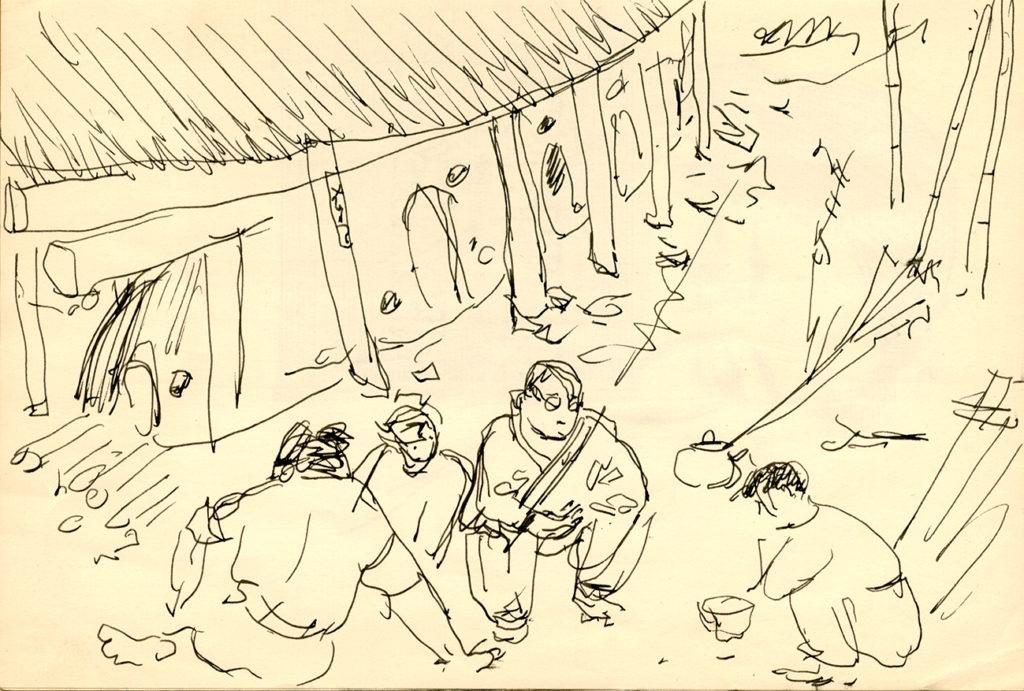 Teckning av Hamadas verkstad, Wilhelm Kåge