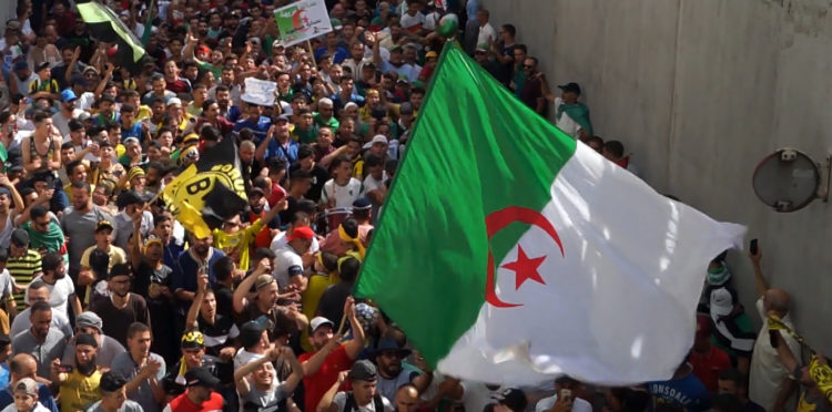 People protesting in Algiers, Algeria