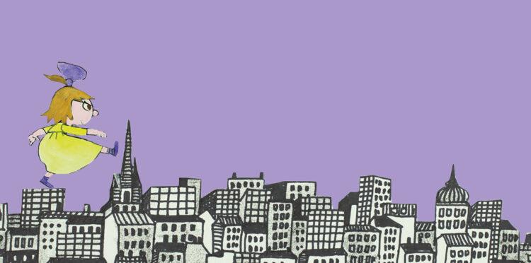 Tecknad flicka som går över takåsarna på en stad