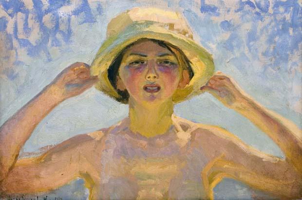 Gerda Roosval-Kallstenius, Solstudie på stranden, 1914, olja på duk