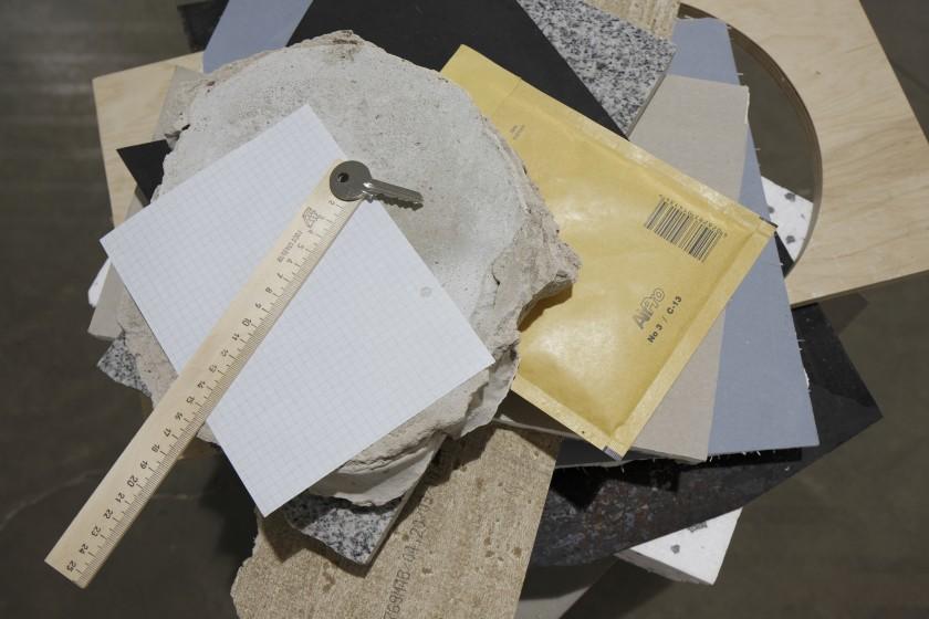 Daria Melnikova, Ø=5mm, 2011, Paper, wood, concrete, metal, poleurethane, pasterboard, ruller, key, envelope, 100x60x70 cm, foto: Ansis Stark