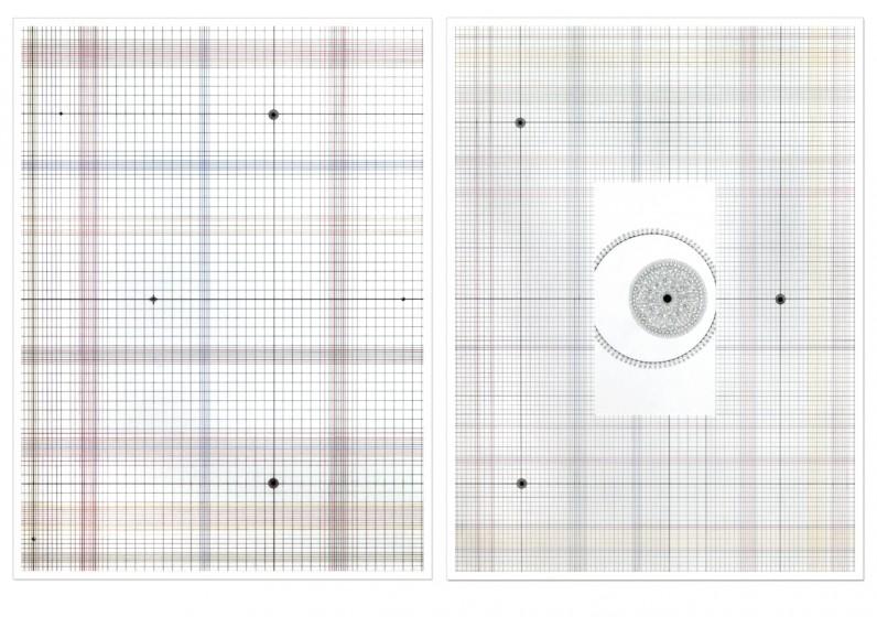 Eva Larsson, Ögat diptyk, Teckning, 2005, 180x120cm