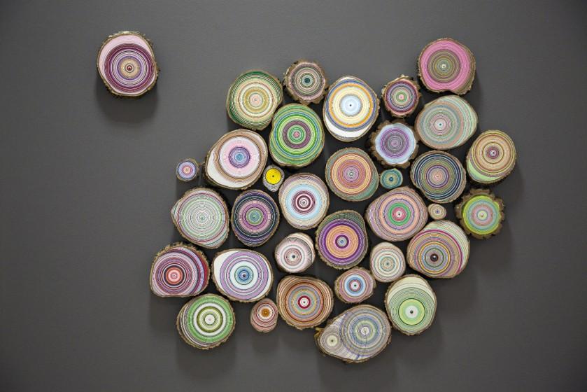 Eva Larsson, Skogen 2012, acryl och tusch på träskivor