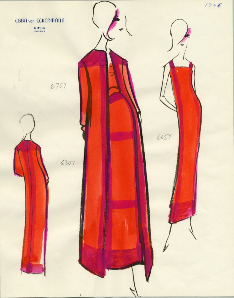 Modeteckning av Lars Hillingsø 1966 utifrån Ebba von Eckermanns textilier