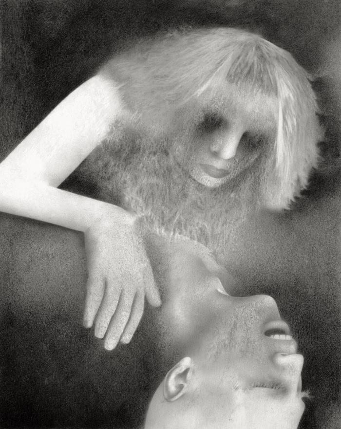 G. Karin Andersson. Utan titel (Två ansikten), blyertsteckning, 14,8x18,6 cm, digitalprint 127x161 cm