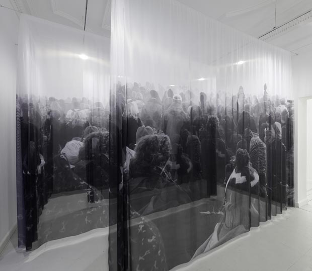 Theis Wendt, Untitled, Dimensions vary with installation, Print on transparent textile, 2011