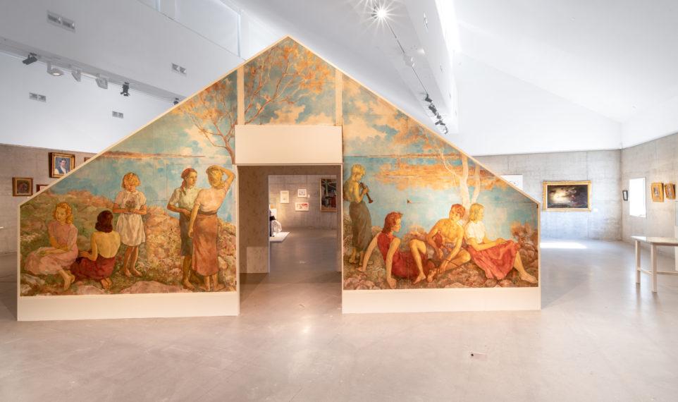 Bild av Lotte Lasersteins verk Sommaridyll i utställningen Småland - idyll och irrvägar.