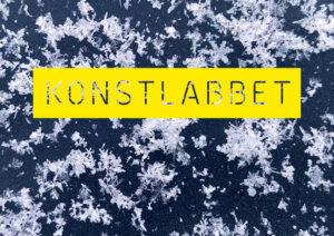 Konstlabbets logga på bakgrund av snökristaller i is