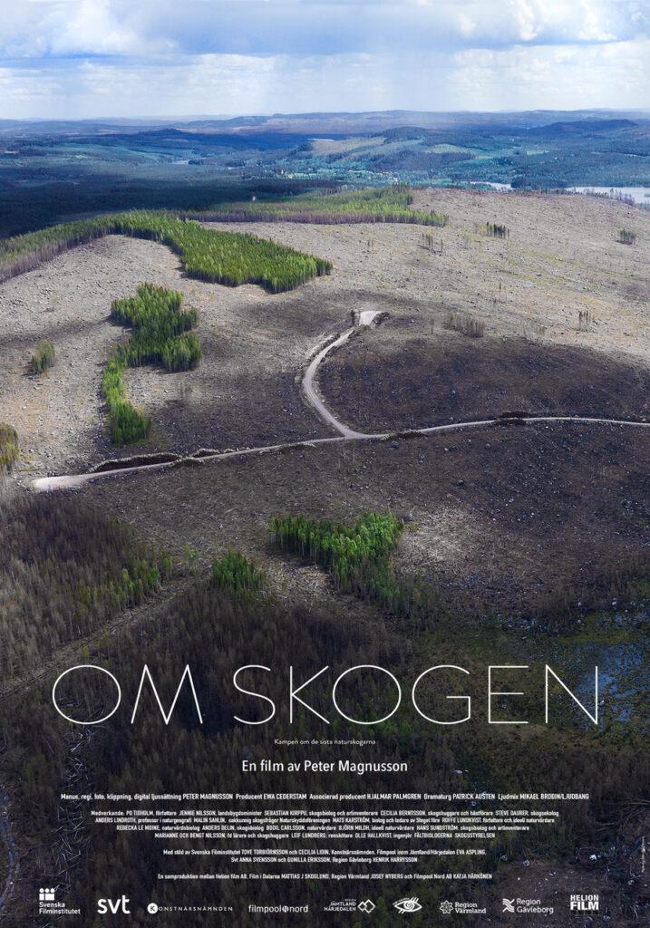 Flygbild över ett kalhygge, affisch för filmen Om skogen